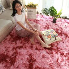 European Long Hair Carpet Mat Bedroom Tie Dyed Gradient Washable Area Rug Anti-s