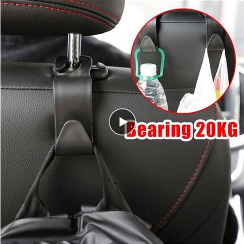 20KG Hook Organizer Headrest Holder Car Hanger Bag Auto Products Hook Hanging Interior Multi Purpose Hook Auto Seat Hanger Black