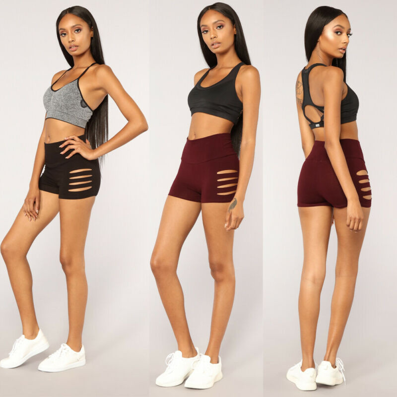 2019 Summer High Waist Black Red Women Shorts Side Bandage Side Mesh Three Hollow Out Hole Sexy Shorts Women Lace Up Shorts Lady