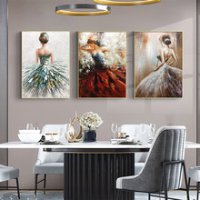 Modern Hand-painted Beautiful Ballerina Oil Painting Abstract Character Art Frameless Mural Living Room Home Decoration Picture