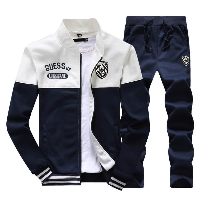 Hoodie Men's Long Sleeve Spring And Autumn Students Men'S Wear A Set Of Collocation Handsome Uniforms Stand Collar Cardigan Spor