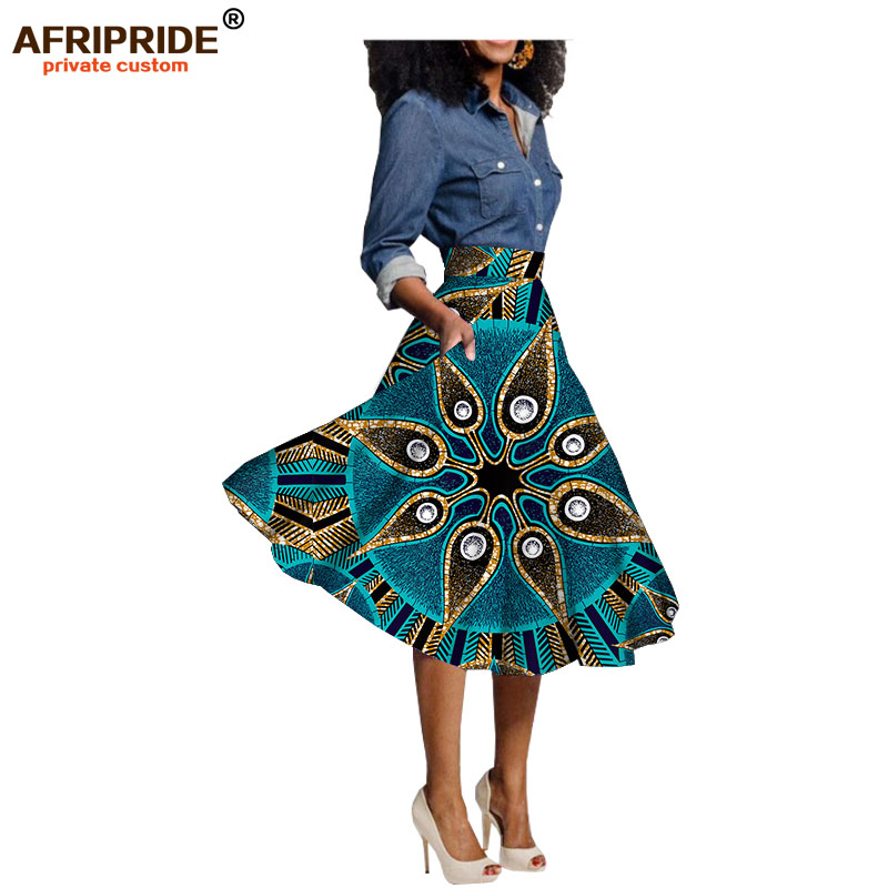 African print skrits for womendashiki clothing knee-length casual skirt 100% pure cotton plus size wax attire AFRIPRIDE A722703