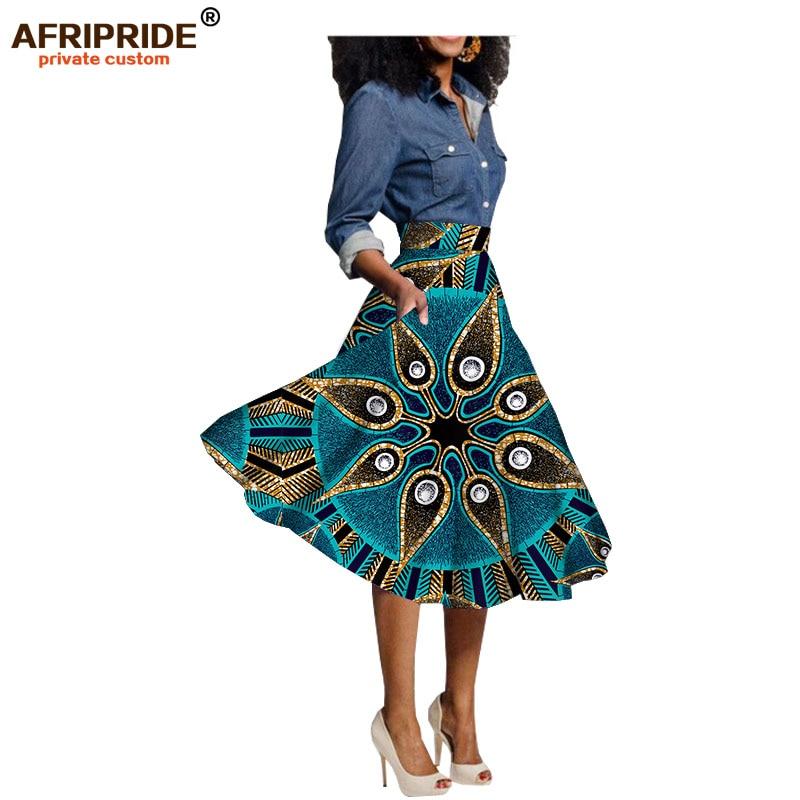Afrika çap skritləri qadın geyimləri diz uzunluğu təsadüfi yubka 100% saf pambıq və ölçülü mum paltar AFRIPRIDE A722703
