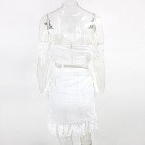 Image 5 - PFFLOOK קיץ תחרה סקסי שתי חתיכה להגדיר לבן Sashes יבול למעלה חצאית Bodycon סקסי ללא משענת מועדון המפלגה 2 סט חתיכה נשים חליפת 2020
