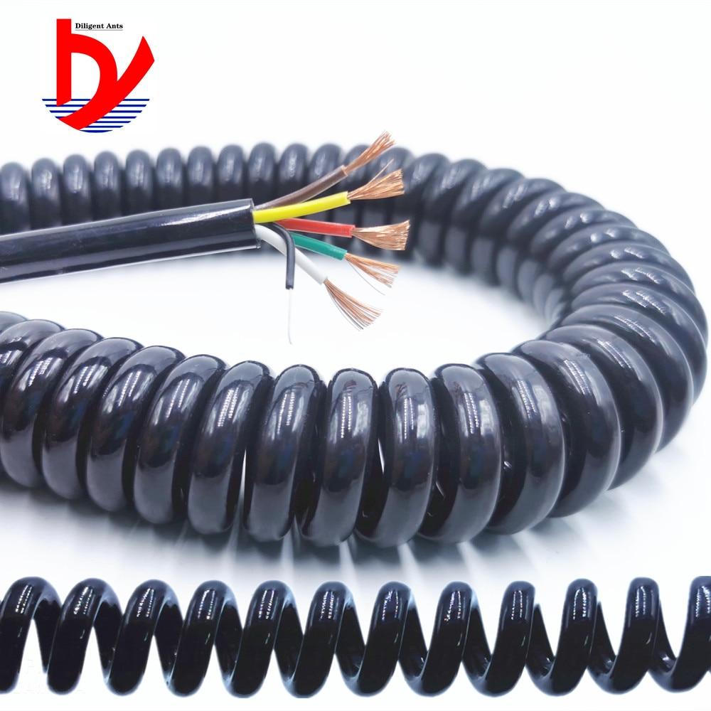 Провод пружинный спиральный кабель 2 ядра-3-4-5-6-8-9-10-12 ядро 0.2mm0.3mm0.5mm черный и белый шнур питания может продлить растяжимый провод