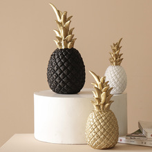 Nordic Resin Pineapple Ornaments Golden Ananas Fruit Crafts Living Room Desktop Home Decoration Accessories Modern Figurines