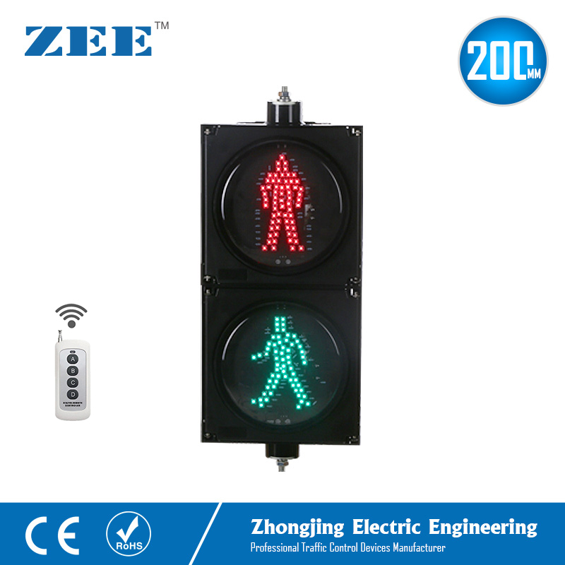 Remote Control Wireless Controller  8inches 200mm LED Pedestrian Traffic Light Red Green Walk Man Signals 220V LED Light