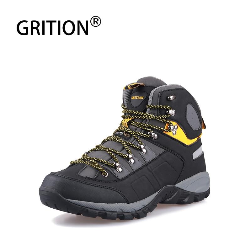 GRITION Men Waterproof Hiking Shoes Men s High Top Walking Mountain Climbing Shoes Slip Soft Shell