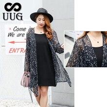 цены на UUG Chiffon Kimono Cardigan Plus Size Women Clothing Blouses  Autumn Spring Large Size Ladies Clothes Bohemian Star Print Black в интернет-магазинах