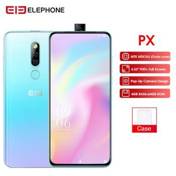 "Elephone PX 6.53"" FHD+ Full Screen 16MP Pop Up Camera Global Mobile phone Android 9.0 Fingerprint Quad Core Smartphone 2019"