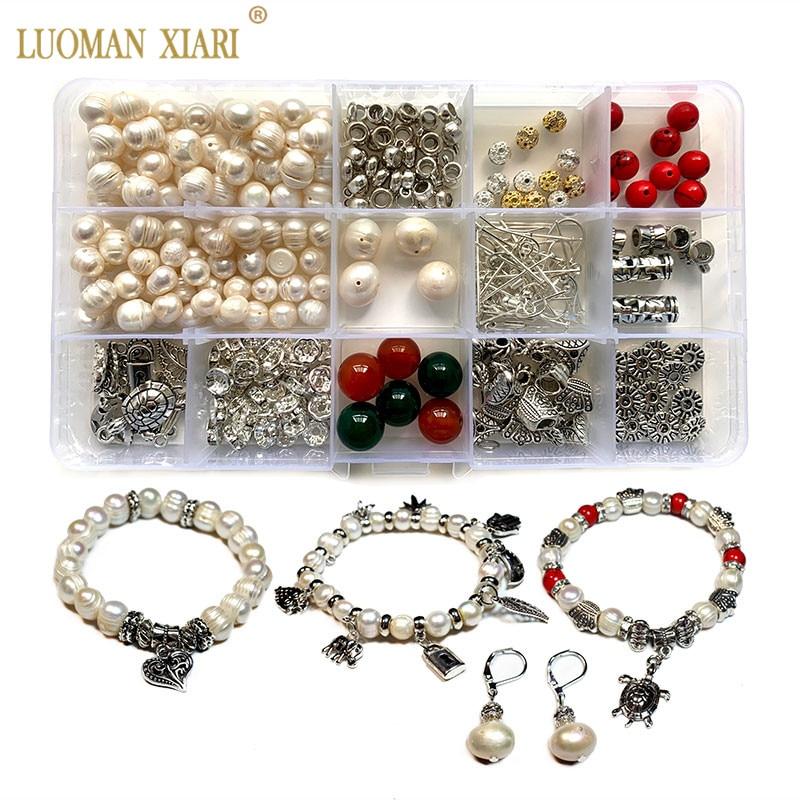 315 PCS Kit Natural Freshwater Pearl Stone Beads Jewelry Accessory Charms Elastic String Diy Handmake Craft Making Bracelet Set