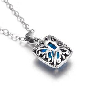 Image 3 - Австрийский Аквамариновый кулон Szjinao из камня, Модная бижутерия из настоящего стерлингового серебра 925 пробы, массивные ожерелья и подвески для женщин