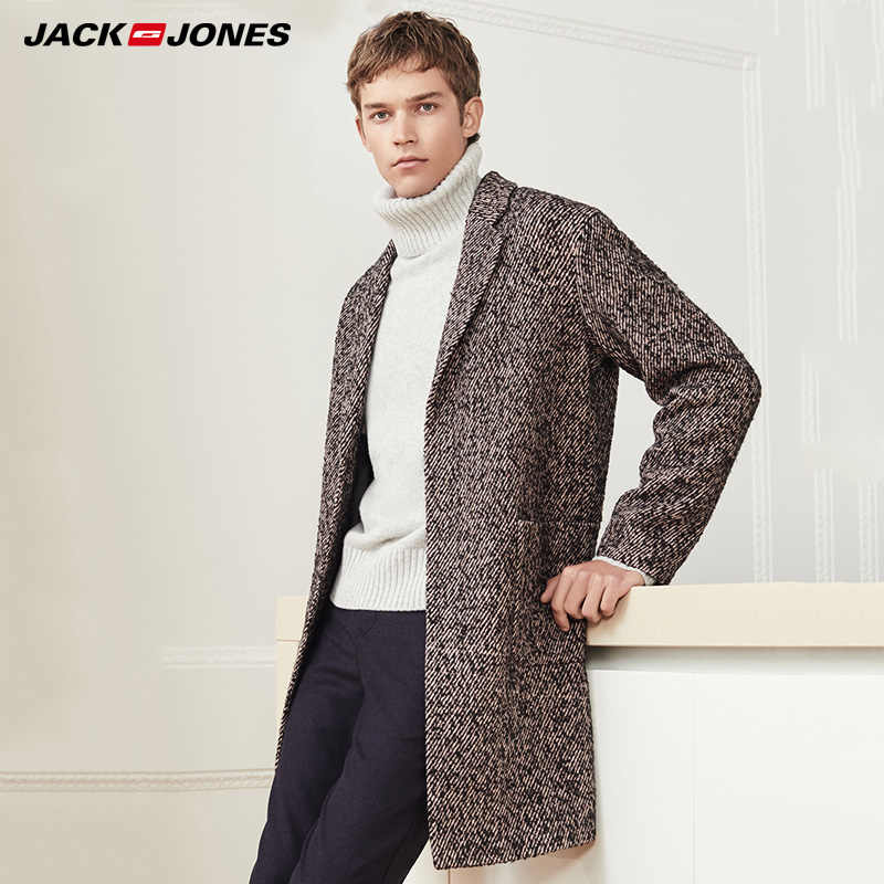 Jack Jones Mens 가을/겨울 중간 길이 모직 코트 | 218427523
