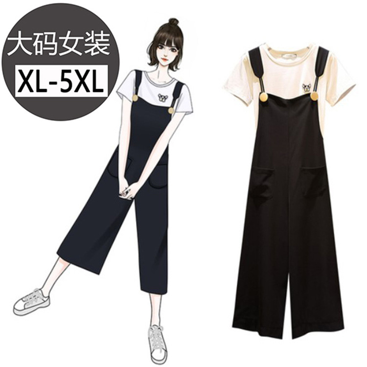 Large Size Dress Round Neckline T-shirt Tops WOMEN'S Tank Top Suspender Pants Black And White With Pattern Capri Pants Loose Pan
