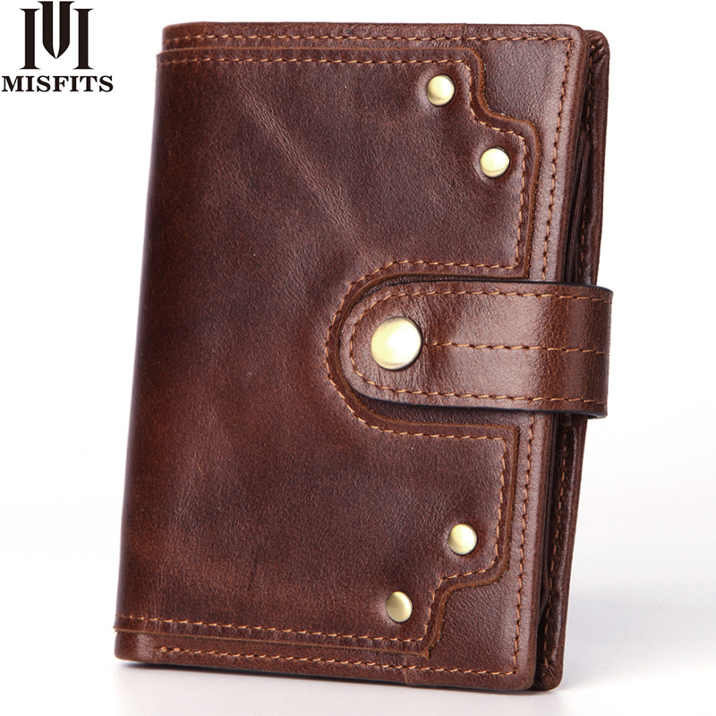 Genuine Leather Men's Wallet With Coin Pocket Vintage Rivet Design Male Purse Card Holder Slim Hasp Money Bag Women Short Wallet