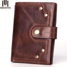 genuine leather men's wallet with coin pocket vintage rivet design male purse card holder slim hasp money bag women short wallet цена