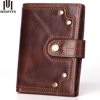 цена на genuine leather men's wallet with coin pocket vintage rivet design male purse card holder slim hasp money bag women short wallet