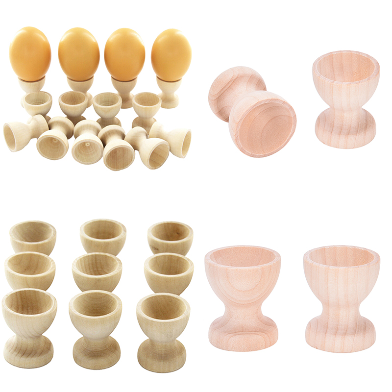 Home Decor Kitchen Dinning Table Pretend Play Toys DIY Craft Wooden Drawing Model Egg Cup Holder Easter Painted Graffiti Tools