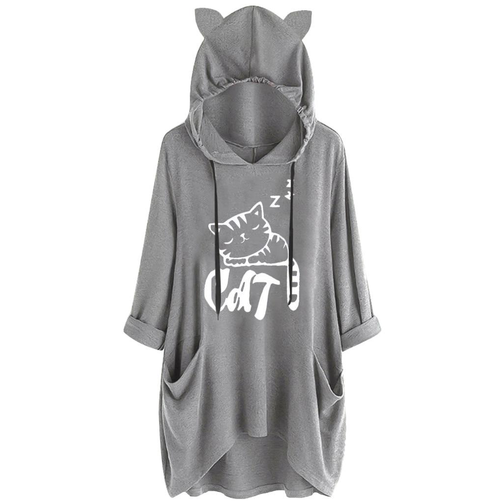 Hoody Women Casual Print Cat Ear Hooded Shirt Long Sleeve Pocket Irregular Blouse Female Tops Winter Sweatshirt Women #D8
