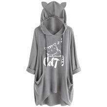 Hoody Women Casual Print Cat Ear Hooded Shirt Long Sleeve Pocket Irregular Blouse Female Tops Winter Sweatshirt Women #D8 casual irregular stripe print men s hooded sweatshirt