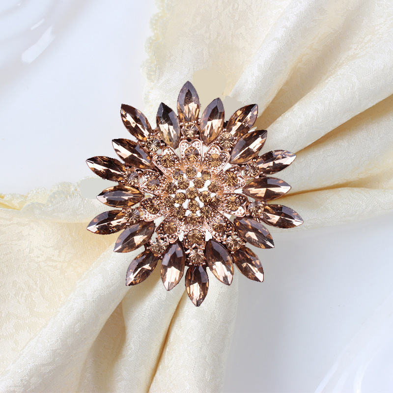 Hotel Flower-shaped Crystal Metal Napkin Ring Napkin Rings Kou Bu Quan Can Jin Kou Alloy Mat Towel Ring