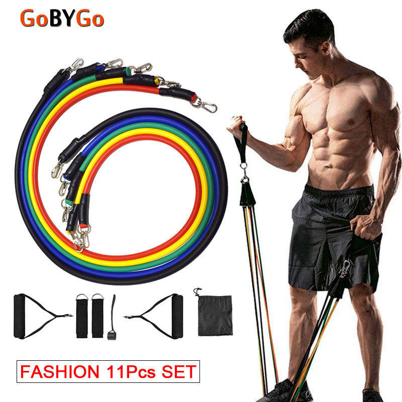 GoByGo 11pcs/set Pull Rope Fitness Exercises Resistance Bands Latex Tubes Pedal Excerciser Body Training Workout Yoga