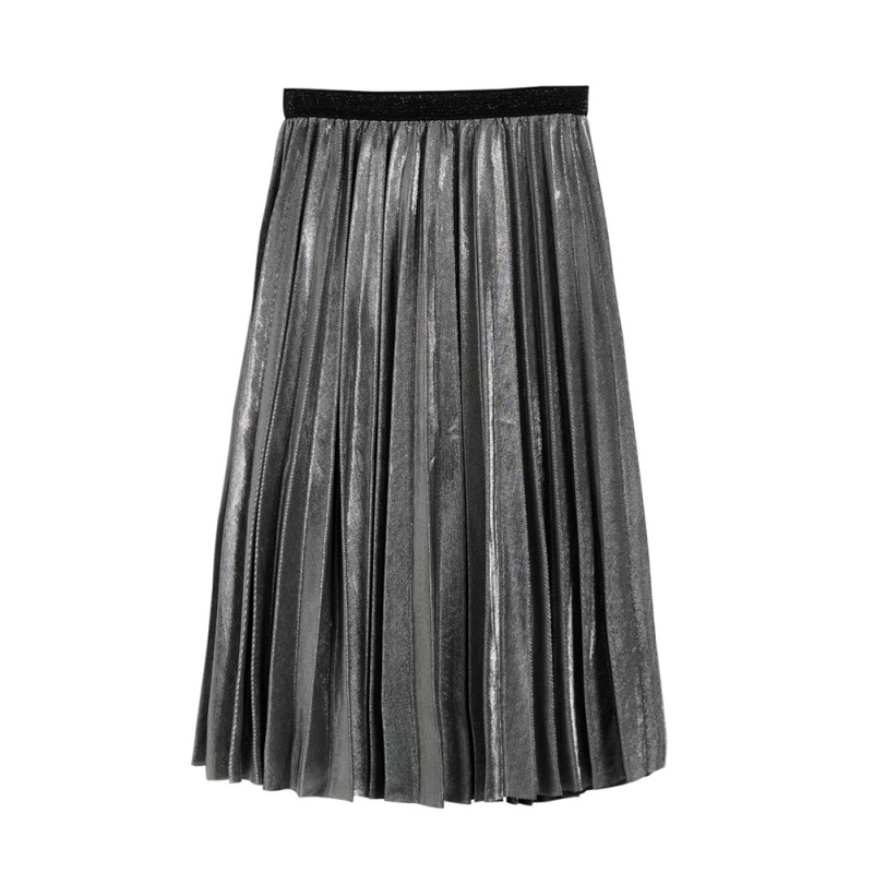 2019 Fashion New Summer Women High Waist Metallic Midi Pleated Skirt Party Club