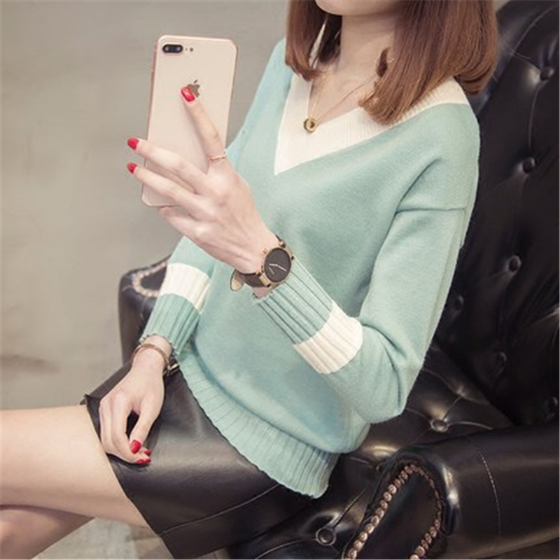 Women's Streetwear Sweaters V Neck Sexy Pullovers Female Spring Casual Clothing Office Lady Autumn Elegant Sweater LWL470