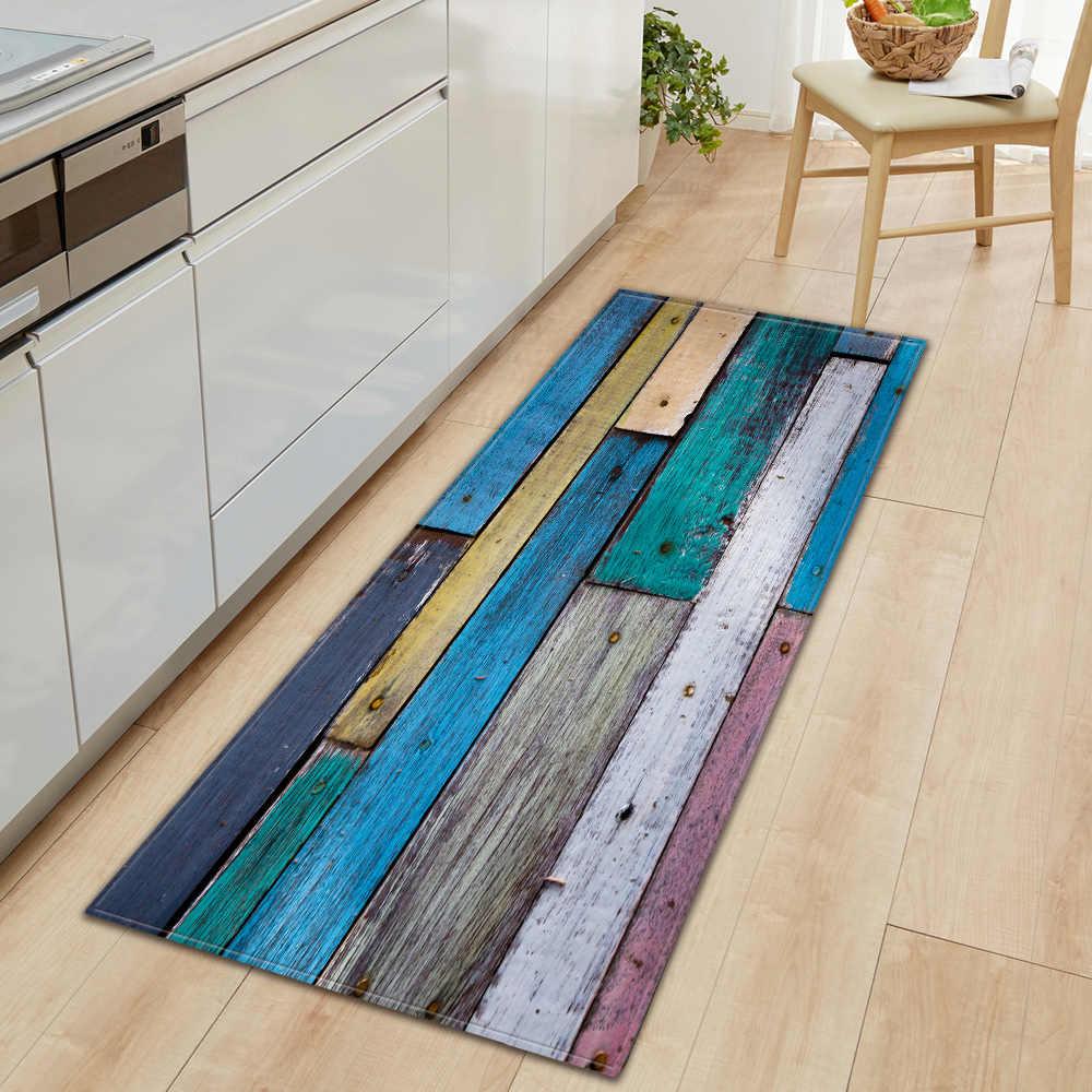 Nordic Küche Matte Schlafzimmer Eingang Fußmatte Home Flur Boden Dekoration Wohnzimmer Teppich holzmaserung Bad Anti-Slip Teppich