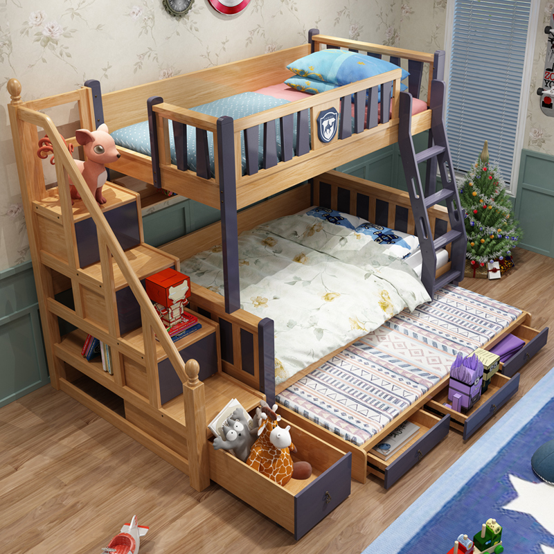 Jc Cheap Price Furniture Bunk Beds Solid Wood Kids Bed Drawers And