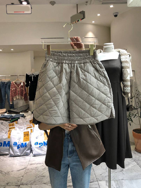 Nomikuma Women Winter Shorts Korean Argyle Wide Leg Bottoms 2020 New Stretch High Waist Short Pantalones Cortos De Mujer 6D539 2