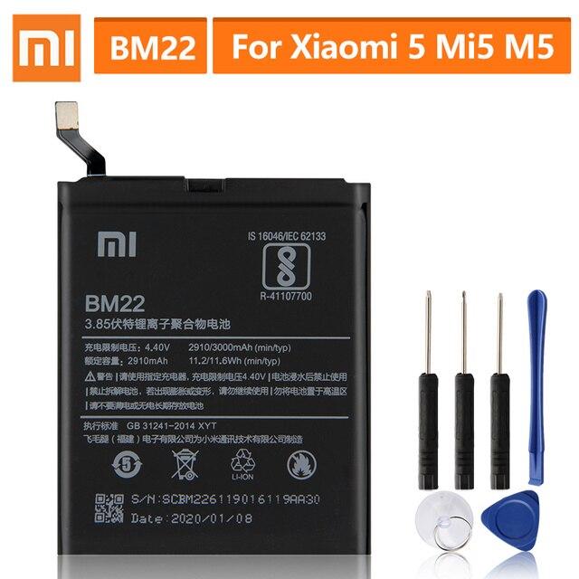 オリジナル交換用バッテリーxiaomi 5 Mi5 M5首相BM22本物の携帯電話のバッテリー3000mah