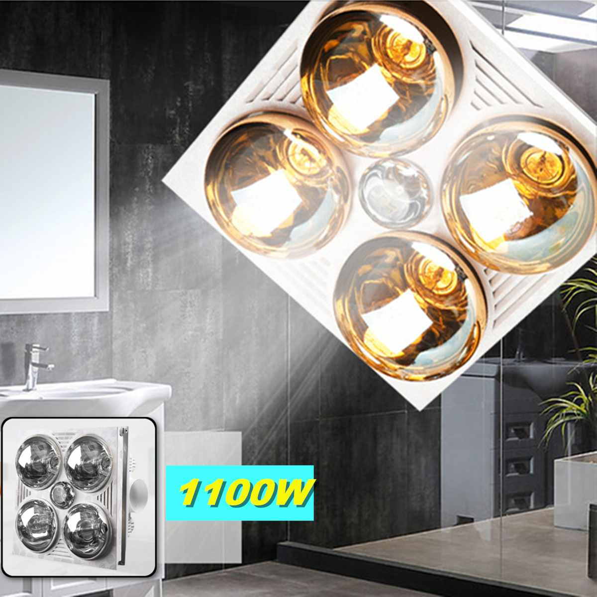 3 in 1 multifunctional bathroom heater exhaust fan with 4 heating elements led panel light ceiling light built in chandelier