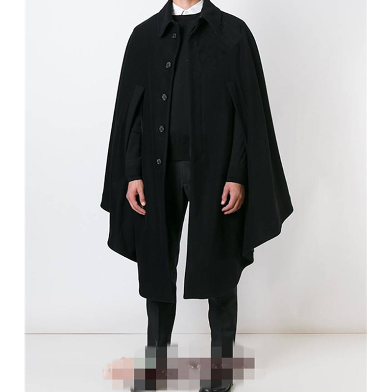 M-4xl autumn and winter models long men's cloak shawl cloak woolen coat woolen coat loose single-breasted tide men's shirt