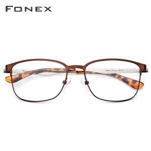 Image 2 - FONEX okulary z lekkiego stopu rama kobiety okrągłe okulary korekcyjne mężczyźni Vintage krótkowzroczność oprawki do okularów korekcyjnych koreański bezśrubowe okulary
