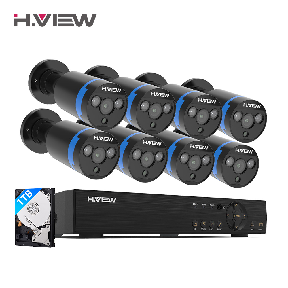 H. view Sicherheit Kamera System 8ch CCTV-System 8x1080 P CCTV Kamera Surveillance System Kit Camaras Seguridad Hause 1TB HDD