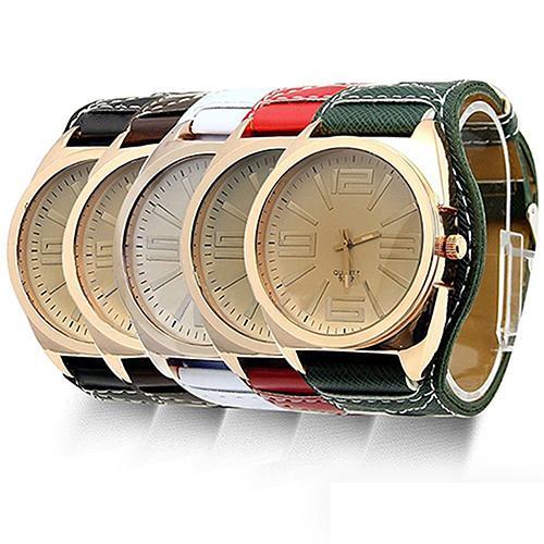 Unisex Watch Women's Men's Fashion Big Round Dial Faux Leather Strap Quartz Wrist Couple Watches For Lovers Women Watches