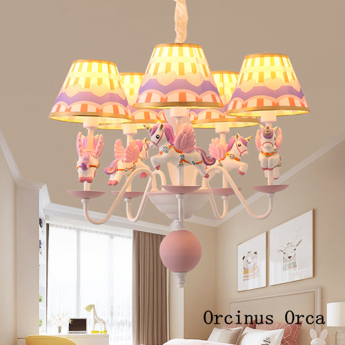 New Color Circus Chandelier Boys'and Girls' Bedroom Children's Room Light Cartoon Creative LED Pony Chandelier Free Shipping