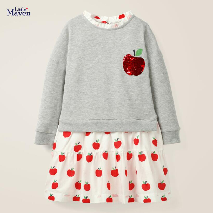 Little Maven Girls Brand Spring Autumn Baby Girl Clothes Cotton Fruit Sequined Toddler Girl Dresses for Kids 2-7 Years S0823 1