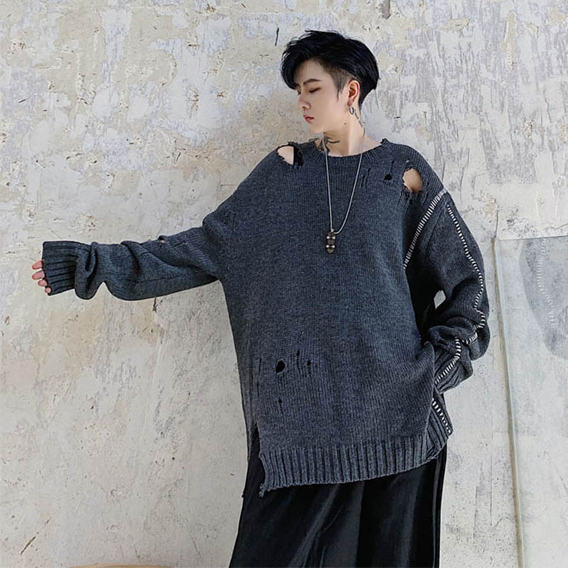 Men Autumn Winter Loose Big Hole Casual Knitted Pullover Sweater Male Vintage Streetwear Hip Hop Punk Gothic Fashion Sweater