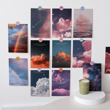 15Pc Twilight Cloud Moon Decoration Card Art Postcard Simple Scenery DIY Wall Sticker Photography Props Background Stationery