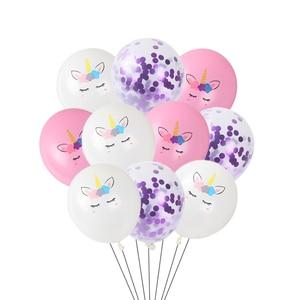 10 шт./лот 12 дюймов Единорог латексный шар розовое золото фиолетовый конфетти воздушный шар на день рождения свадебные вечерние украшения де...