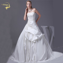 Jeanne Love 2017 New Arrival Wedding Dresses Robe De Mariage Satin Beading Bridal Gowns A Line Vestido Novia JLOV75898