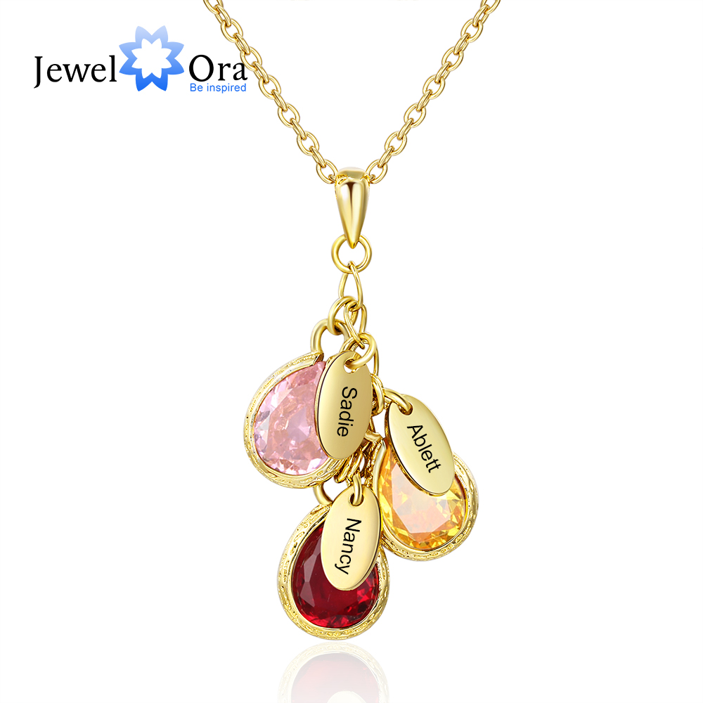 Personalized Mother Necklace With 3 Custom Birthstones Engraved Family Kids Names Water Drop Pendant Necklace(JewelOra NE103416)