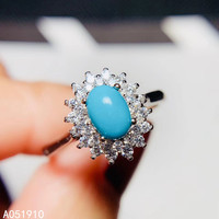 KJJEAXCMY boutique jewelry 925 sterling silver inlaid Natural Turquoise gemstone female ring support detection classic