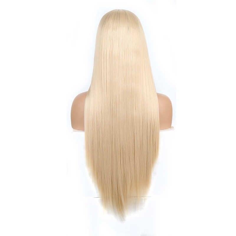 Pelucas rubias de carisma, peluca de pelo largo liso y sedoso, peluca sintética con malla frontal resistente al calor, pelucas de Cosplay de parte lateral para mujer
