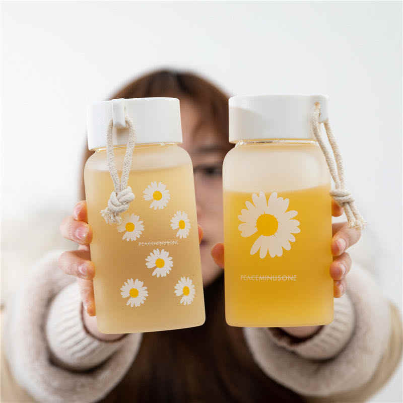 Small Cute BPA Free Water Bottle Tea Milk Water Cup Portable Rope Travel 500ml