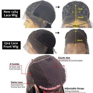 Image 5 - 180% prosto koronki przodu włosów ludzkich peruk z gumką brazylijski Remy przejrzyste koronki przodu włosów ludzkich peruk 13x4 dla kobiet