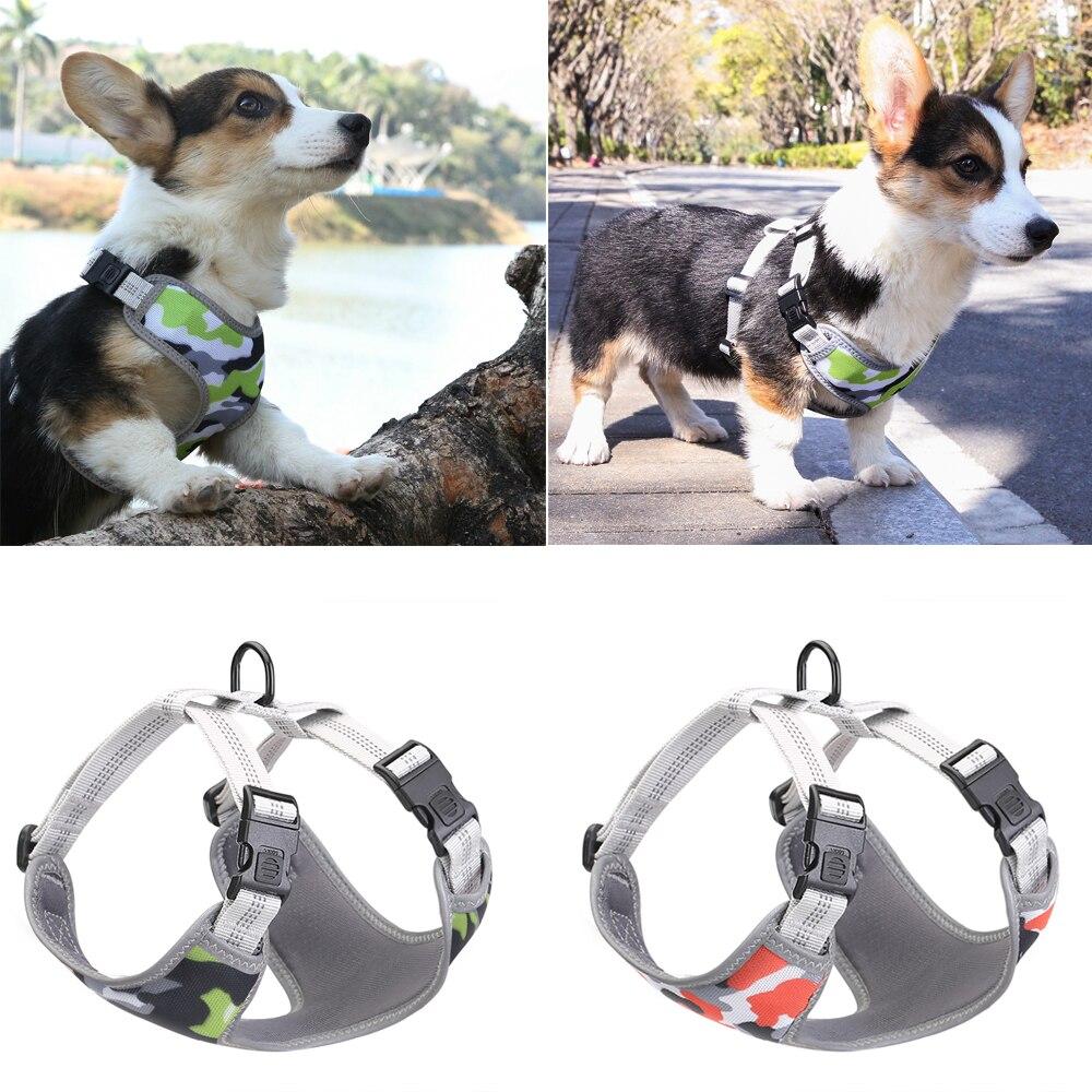Reflective Dog Harness Camouflage Soft Comfortable Nylon Mesh Padded Adjustable Pet Samll Medium Large