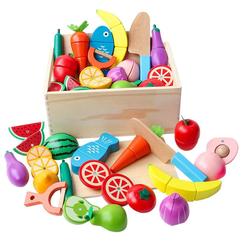 Juguete de madera Montessori para bebé, Comida en miniatura de juego de frutas y verduras para niños, Educación Temprana, juguetes de cocina de vida Real